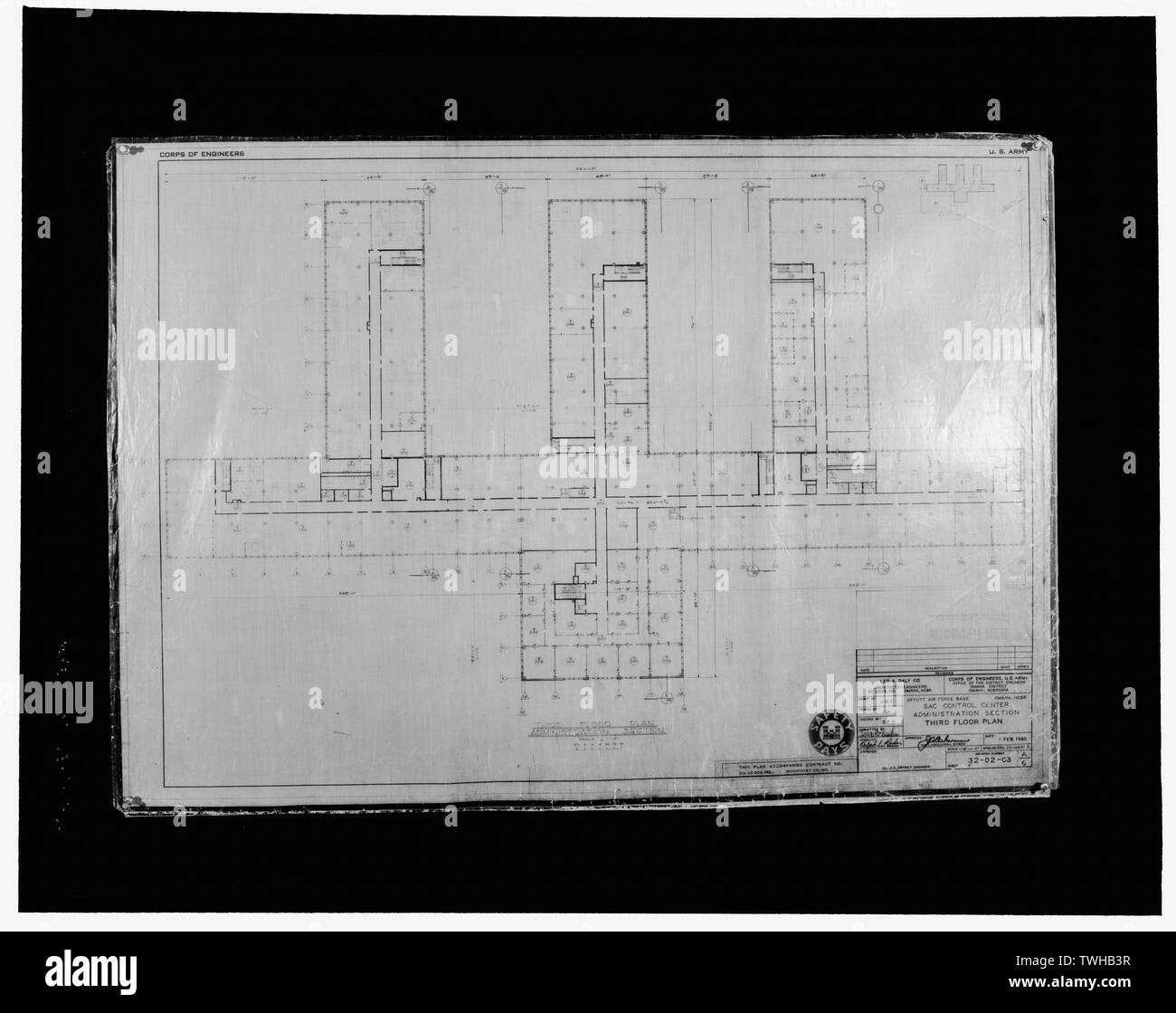 Sac Control Center Administration Section Third Floor Plan Drawing Number 32 02 03 Dated 1 February