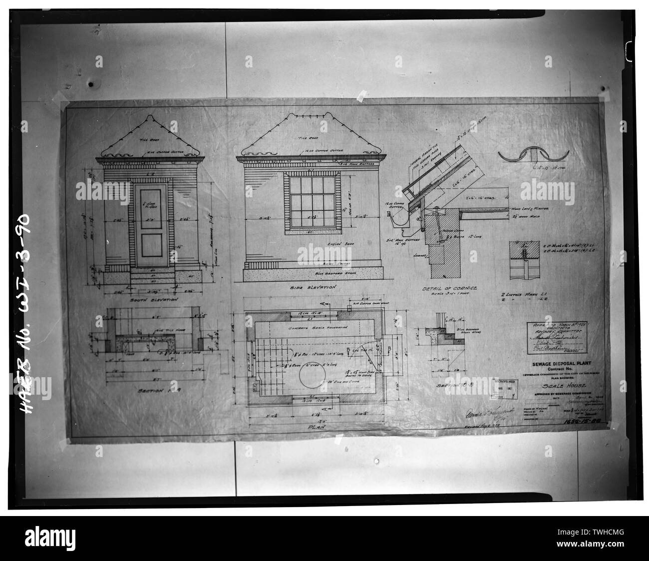 SCALE HOUSE, ELEVATIONS, SECTIONS, PLAN AND DETAILS