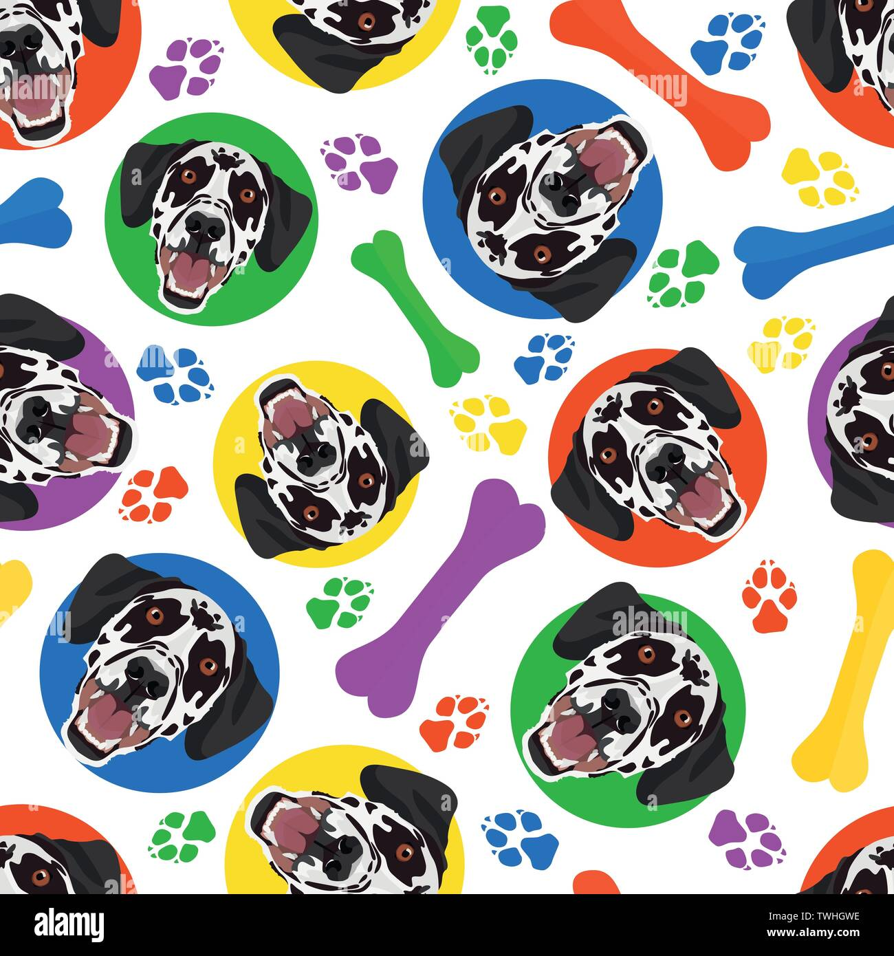 Colorful and playful Dalmatian - Seamless pattern with playful illustration of a dog. The smiling dog is a great gift for dog lovers and dog owners. Stock Vector