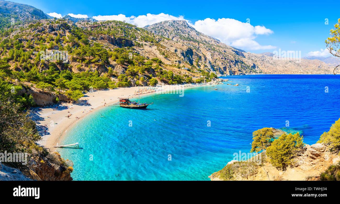 Panoramic view of beautiful Apella beach on Karpathos island, Greece Stock Photo