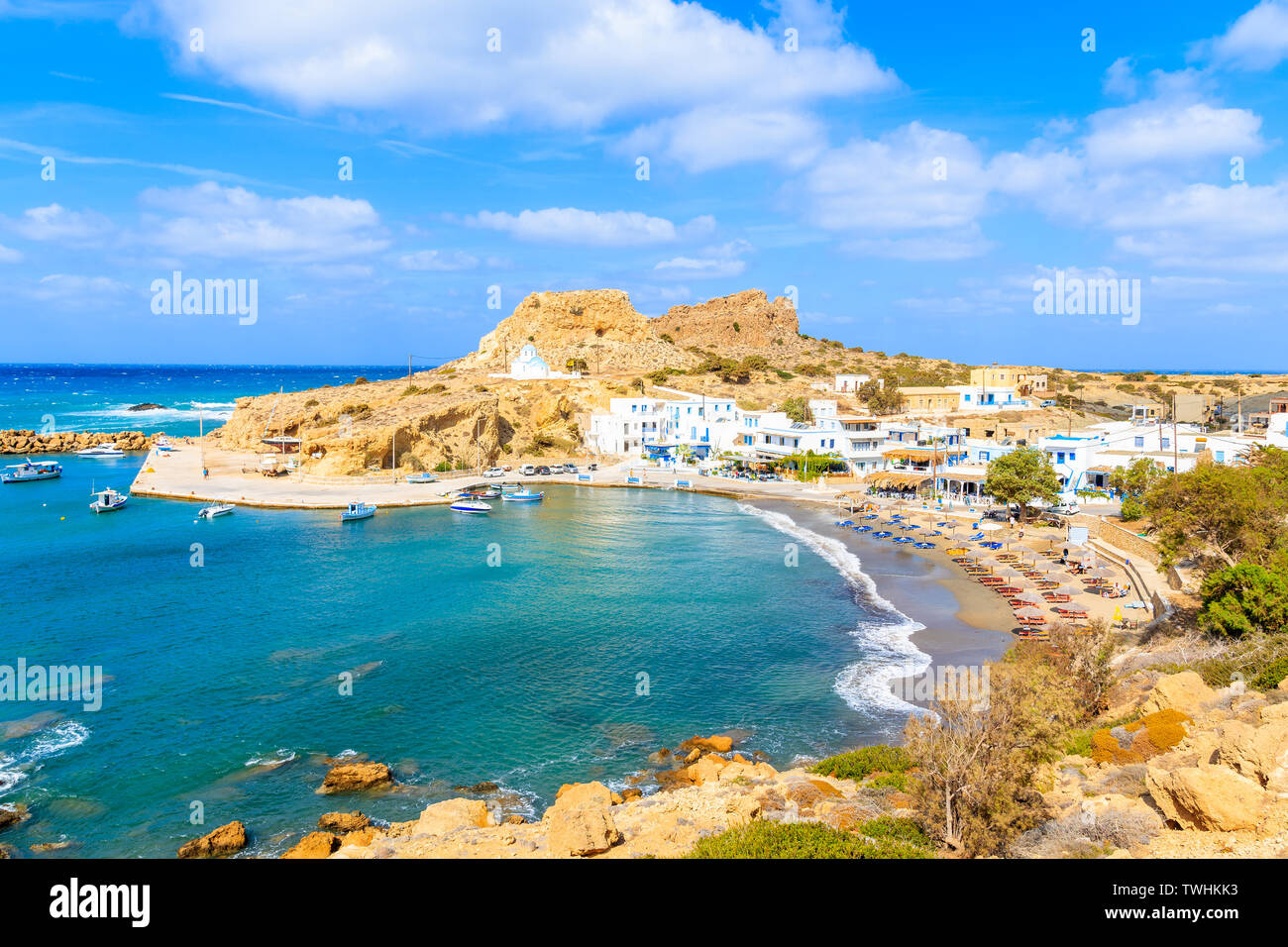 View of beautiful Finiki beach and port, Karpathos island, Greece Stock Photo