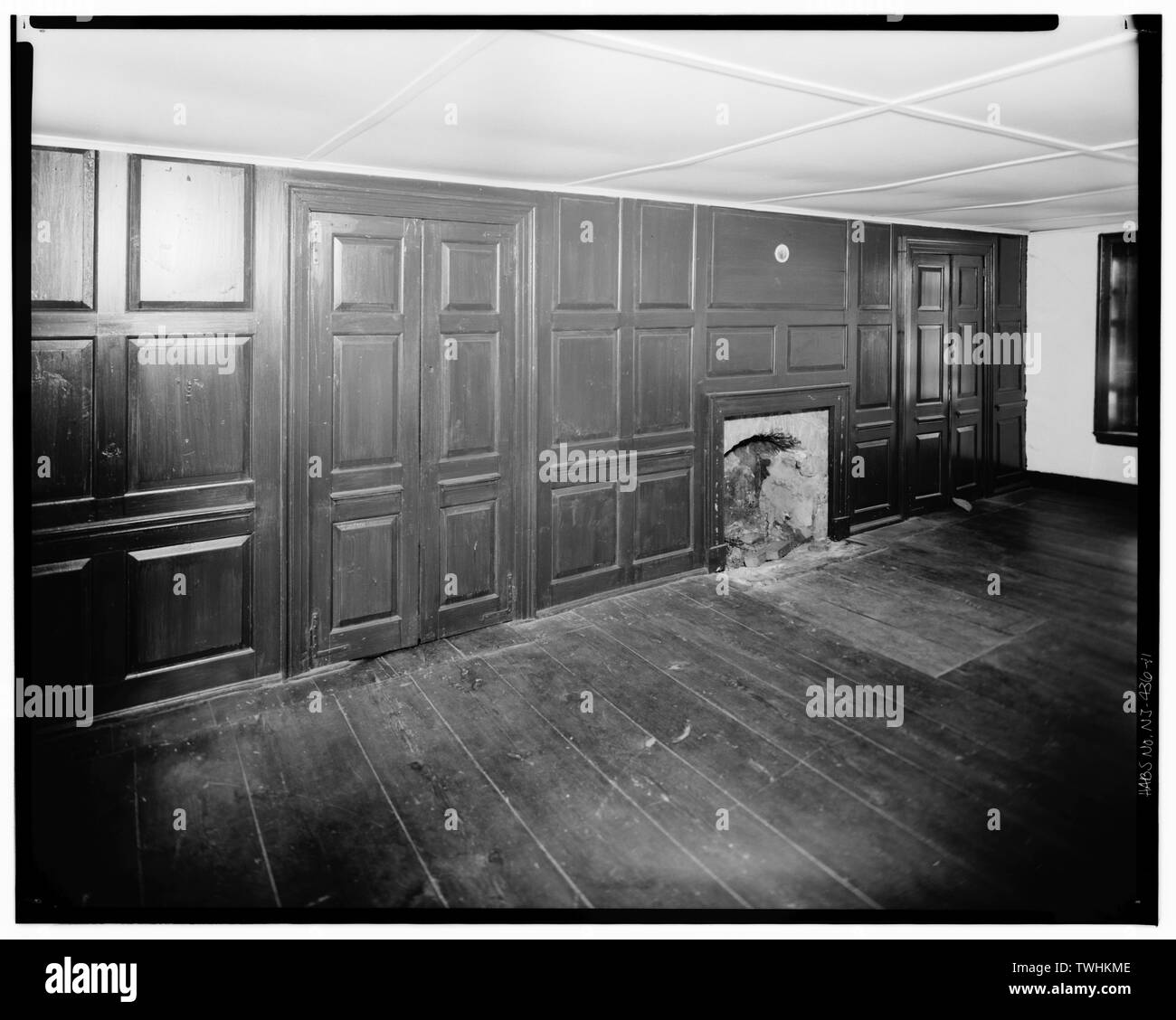 SECOND FLOOR, SOUTHWEST WALL OF SOUTHWEST ROOM - Isaac Van Campen House, Old Mine Road, Wallpack Center, Sussex County, NJ - Stock Image