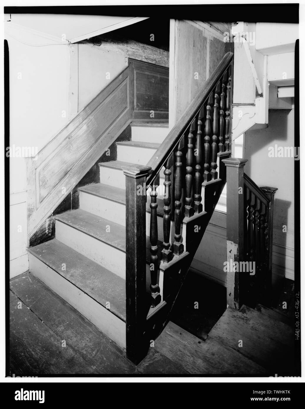 SECOND FLOOR, STAIRWAY - Isaac Van Campen House, Old Mine Road, Wallpack Center, Sussex County, NJ - Stock Image