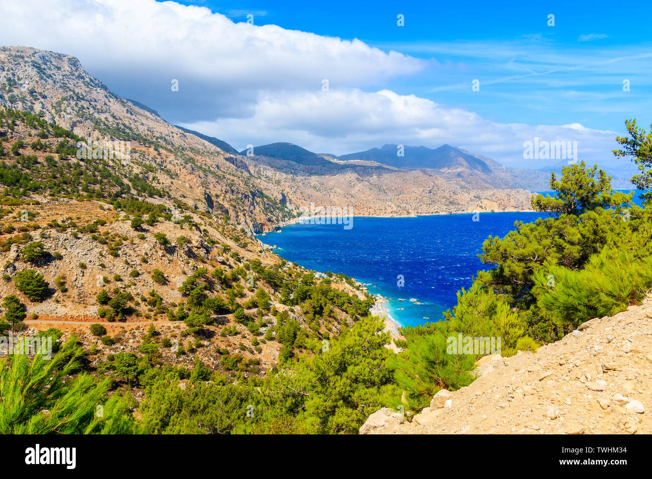 Sea coast of Karpathos island and mountains, Greece Stock Photo