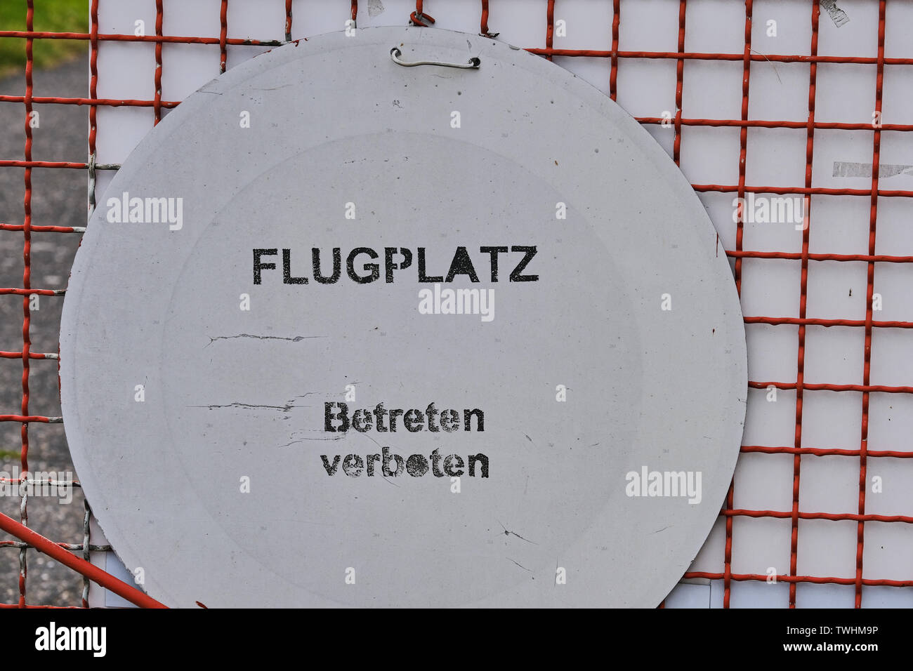 sign at small German airport, the text means in English - Airport, no entry - Stock Image