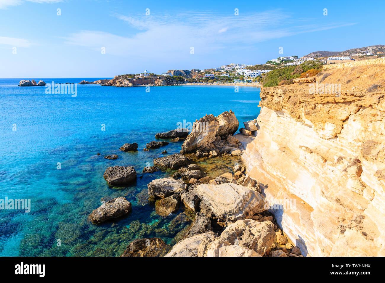 Rocks and azure sea in beautiful bay on Karpathos island in Ammopi village, Greece Stock Photo