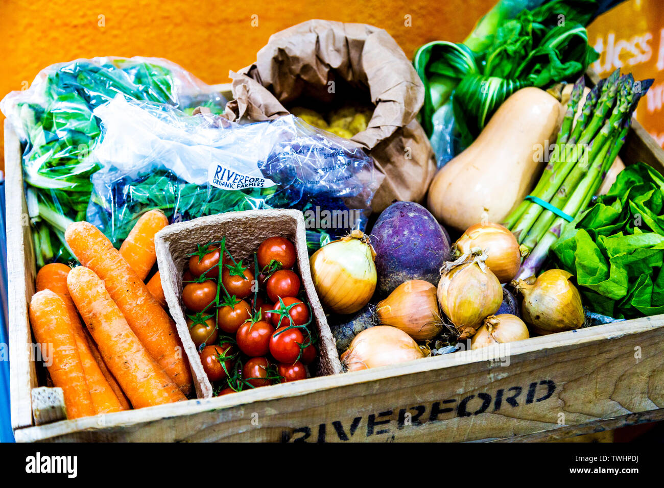 Riverford Farm organic vegetable box for home delivery, FesTeaVal