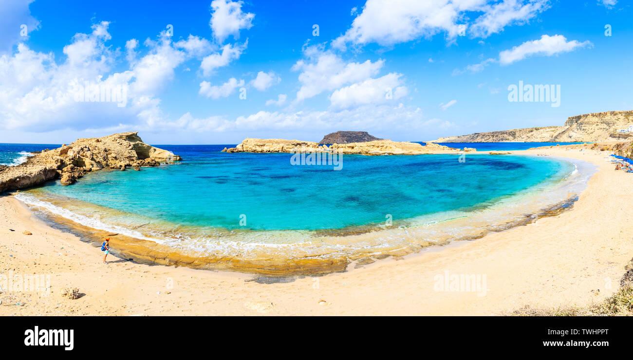 Panoramic view of beautiful beach in Lefkos village on Karpathos island, Greece Stock Photo