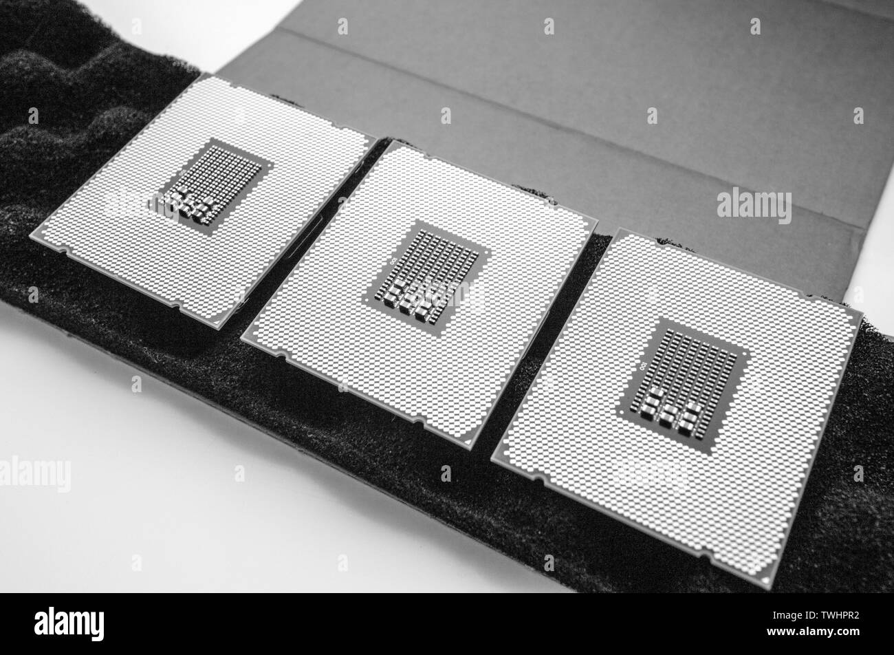 Above view of three new powerful new professional CPU processor unboxing unpacking new device for the server - black and white - Stock Image