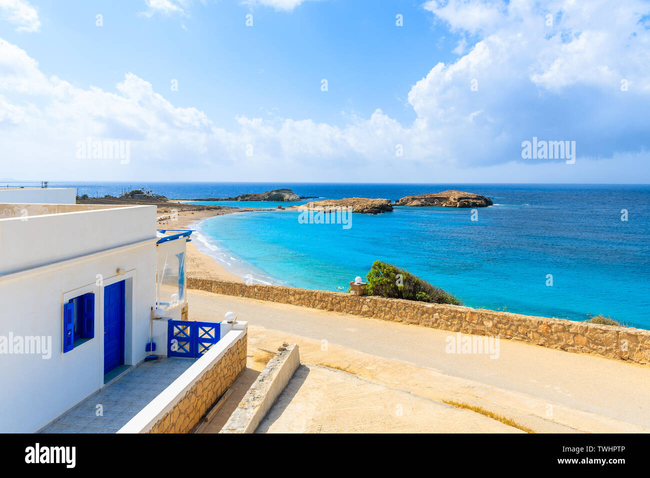 Typical Greek white and blue color house near beach in Lefkos village on Karpathos island, Greece Stock Photo