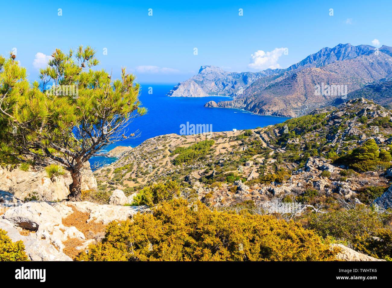 Beautiful sea coast near Mesochori village on Karpathos island, Greece Stock Photo