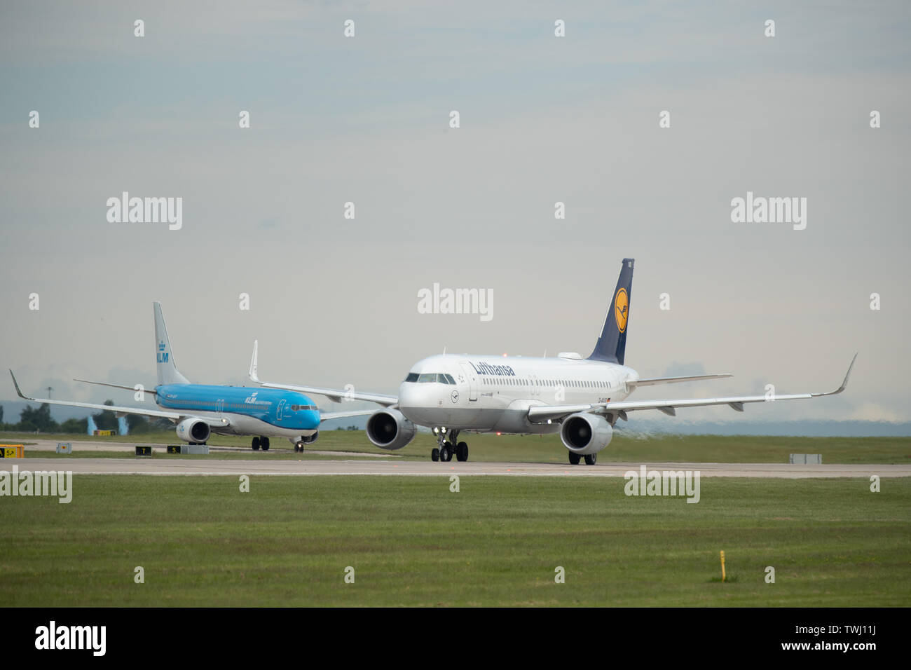 A Lufthansa, also known as Deutsche Lufthansa AG, Airbus A320 prepares for take off from Manchester International Airport in Wilmslow, United Kingdom Stock Photo
