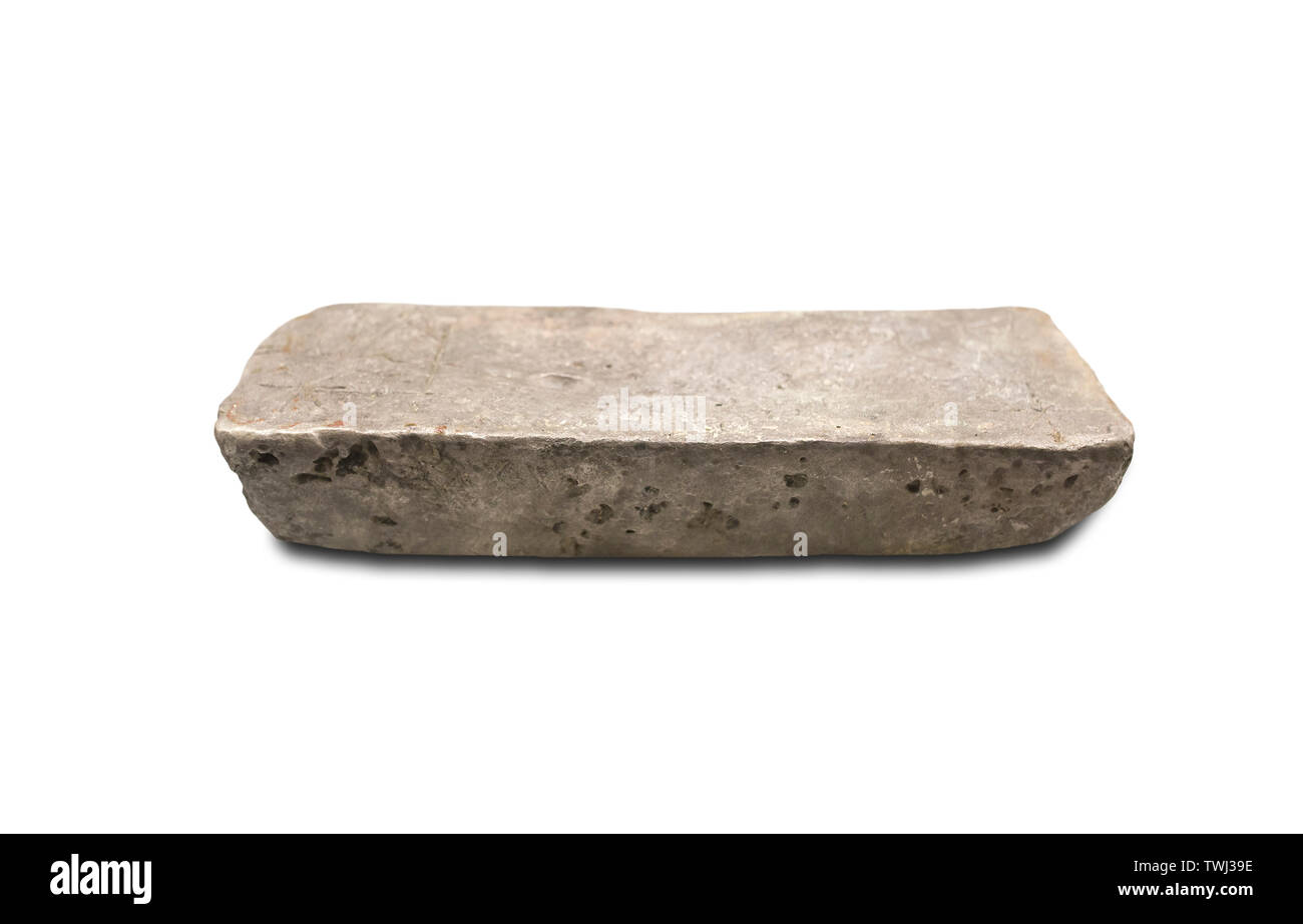 Madrid, Spain - Sept 13th, 2018: Silver ingot from Spanish America Colonies, 1622. Museum of the Americas, Madrid, Spain - Stock Image