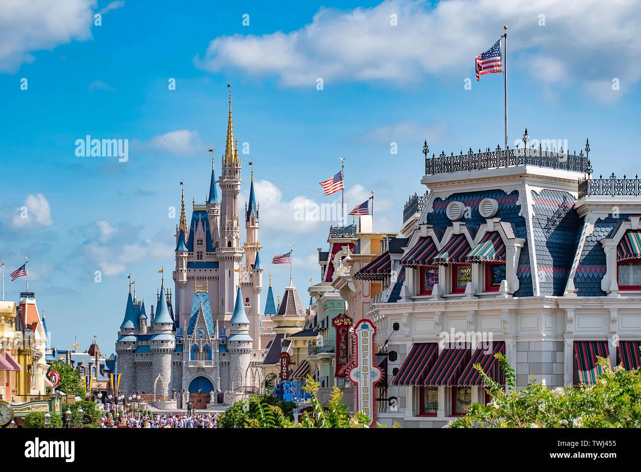 Orlando, Florida  May 10, 2019  Top view of Main Street and