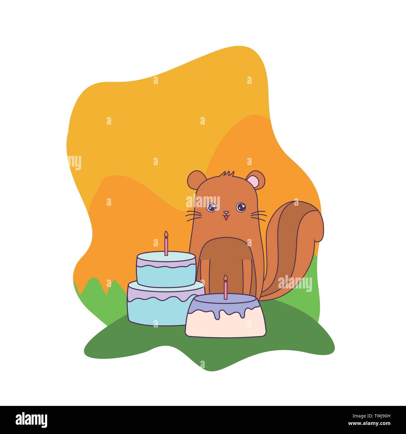 cute chipmunk animal with cakes of birthday vector illustration design - Stock Image