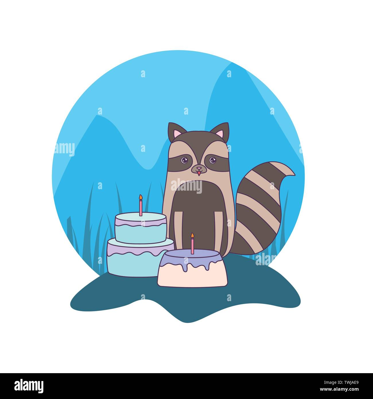 cute raccoon with cakes of birthday vector illustration design - Stock Image