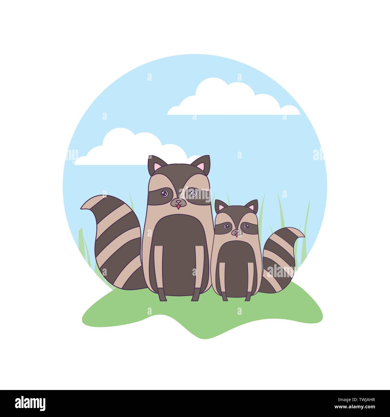 cute group of raccoons animals in landscape vector illustration design - Stock Image
