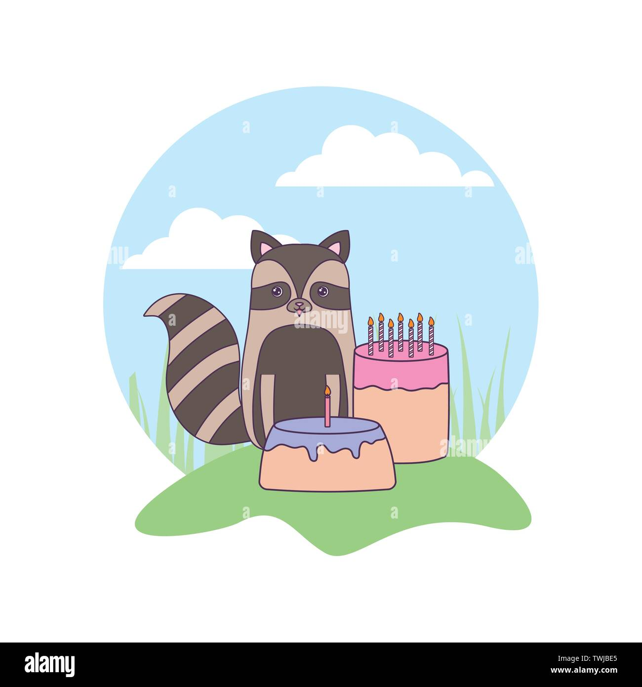 cute raccoon with cakes of birthday in landscape vector illustration design - Stock Image