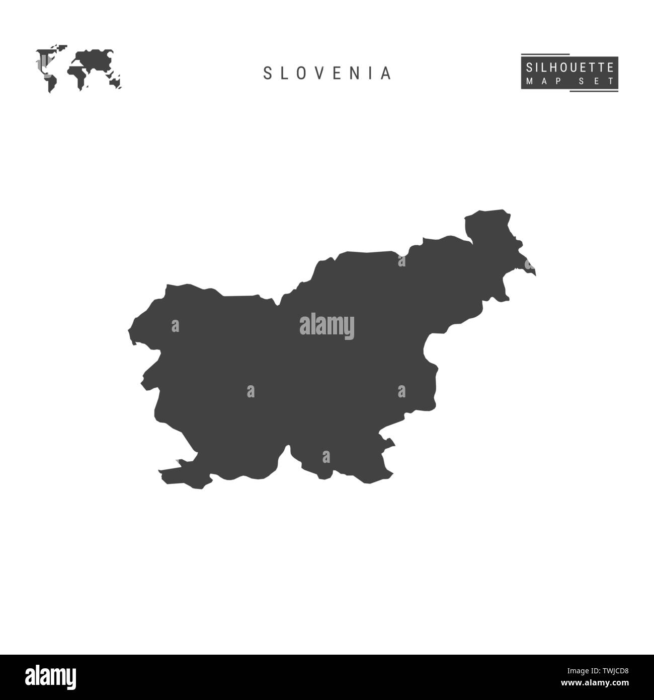 Slovenia Blank Vector Map Isolated on White Background. High-Detailed Black Silhouette Map of Slovenia. - Stock Image