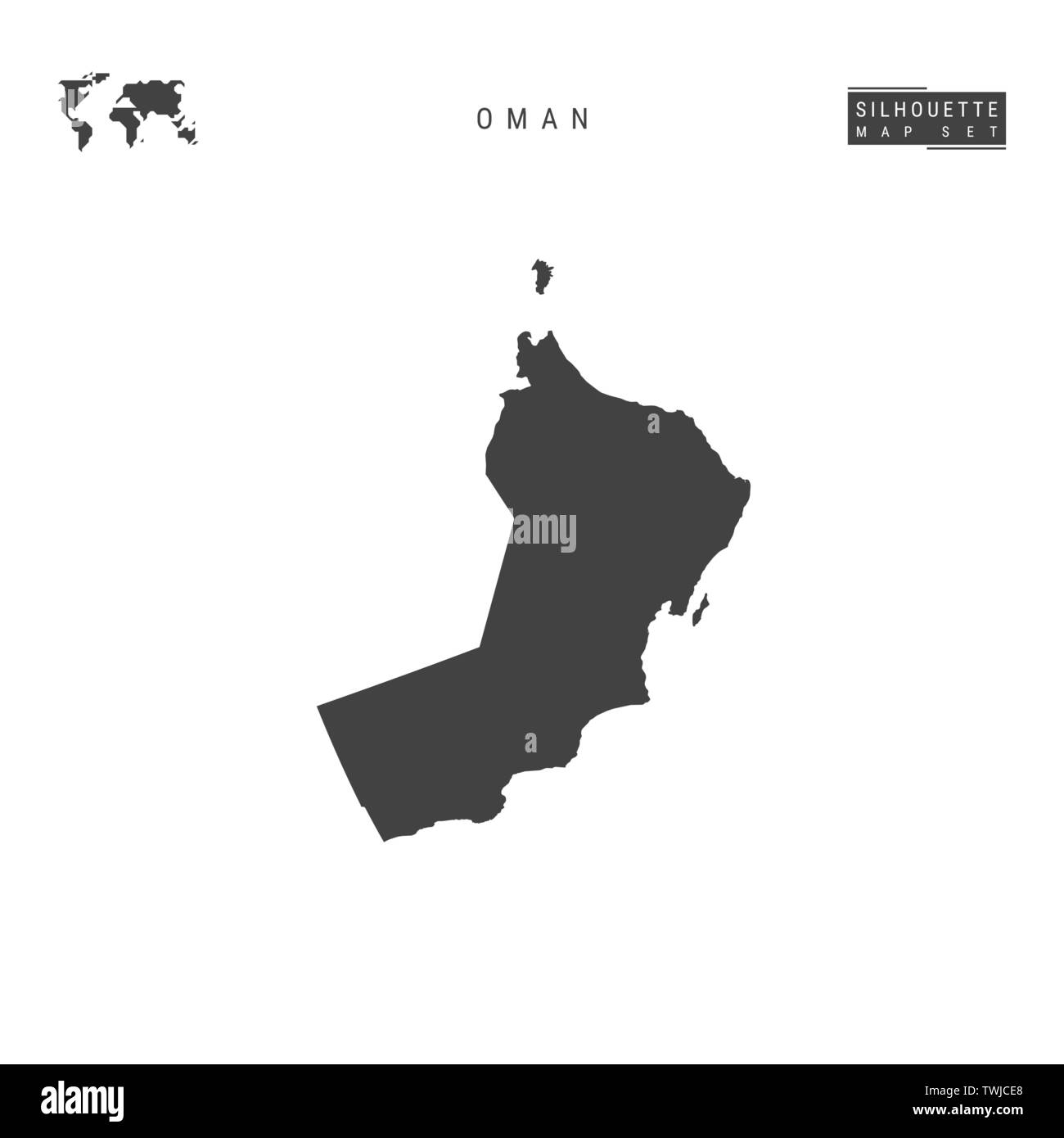 Oman Blank Vector Map Isolated on White Background. High-Detailed Black Silhouette Map of Oman. - Stock Image