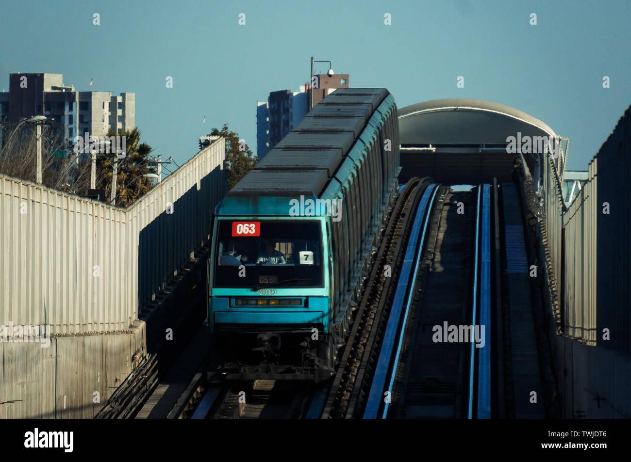 SANTIAGO, CHILE - AUGUST 2016: Metro de Santiago train entering the