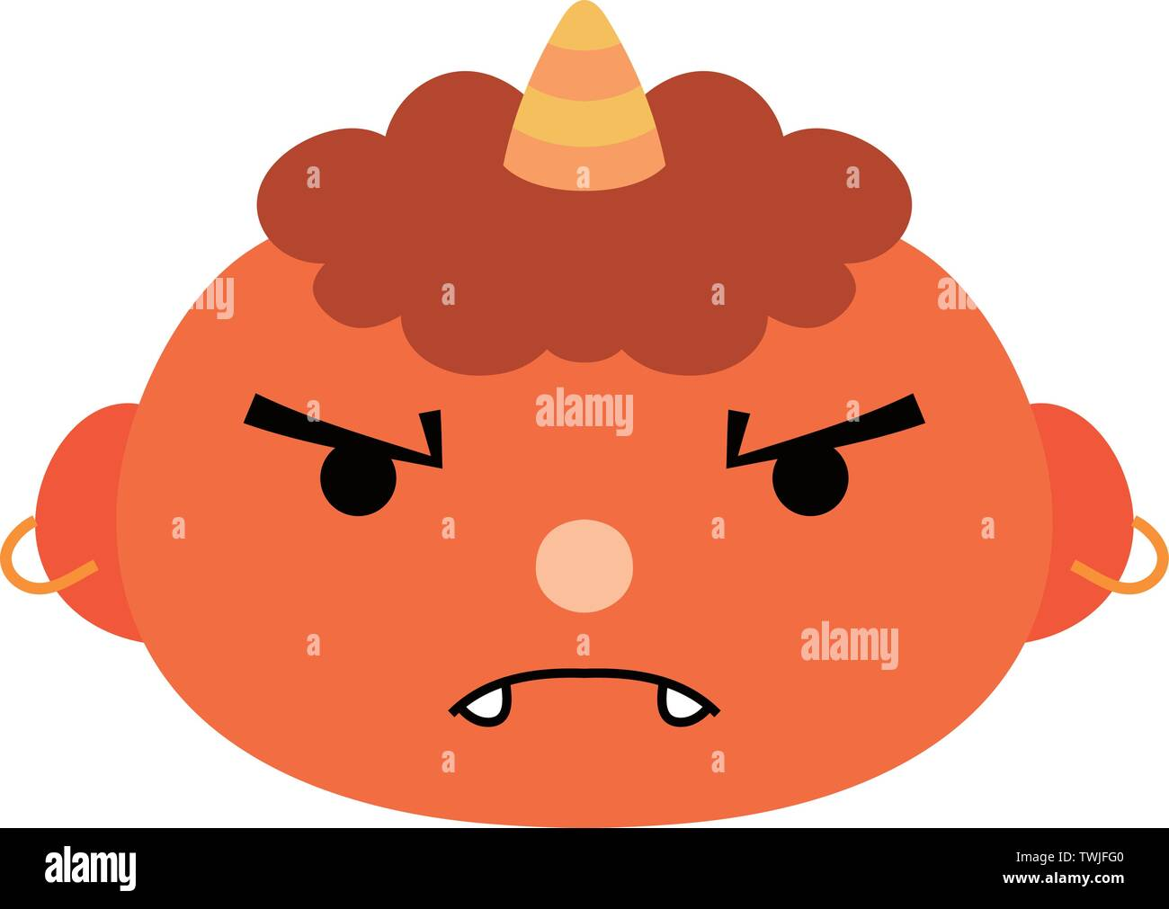 This is an illustration of a demon that appears in a Japanese event called Setsubun. - Stock Vector
