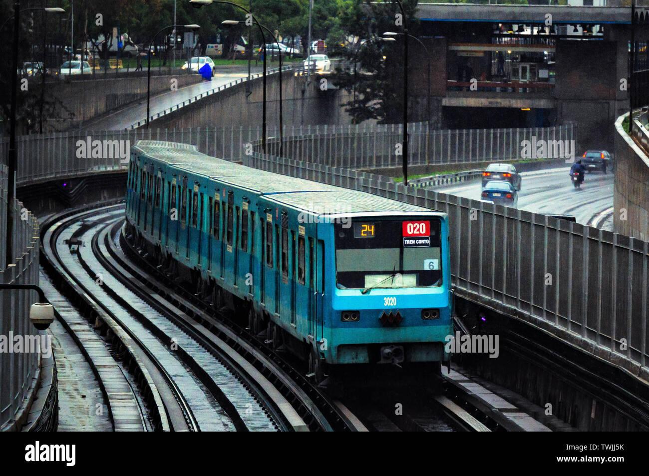 SANTIAGO, CHILE - JUNE 2016: A Santiago Metro train entering Toesca