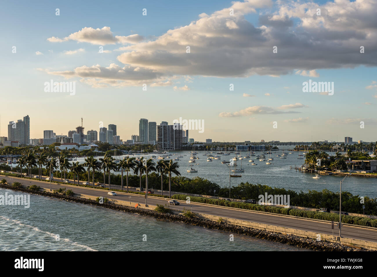Miami, FL, United States - April 20, 2019:  View of MacArthur Causeway and Biscayne Bay in Miami, Florida, United States of America. Stock Photo