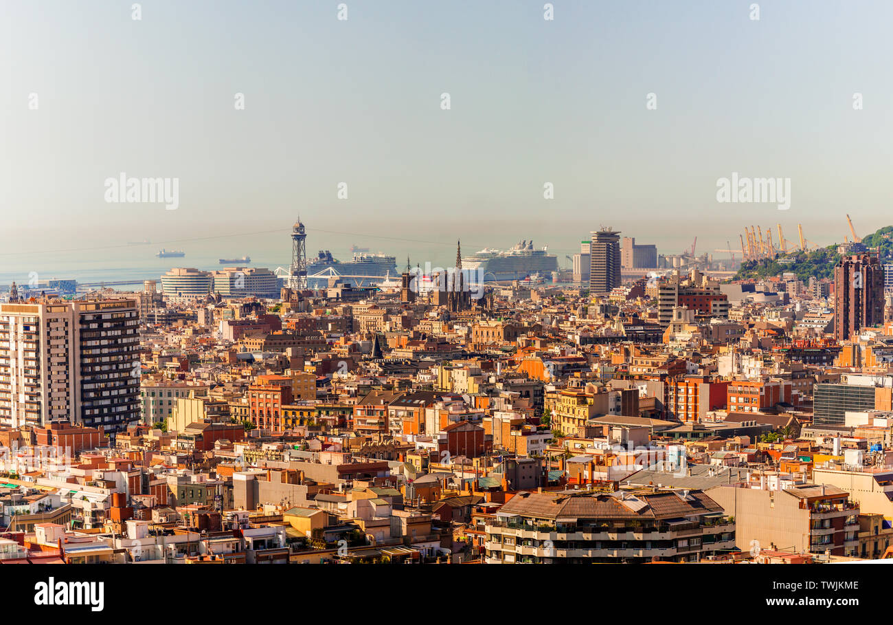 Barcelona skyline panorama at the Blue Hour - Stock Image