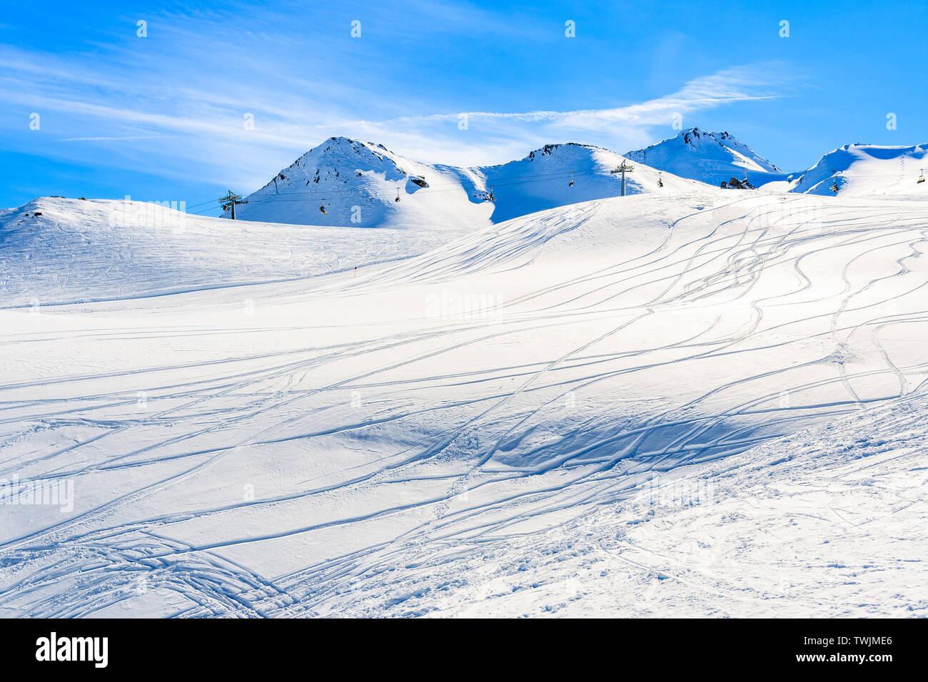 View of ski slope and amazing Austrian Alps mountains in beautiful winter snow, Serfaus Fiss Ladis, Tirol, Austria Stock Photo