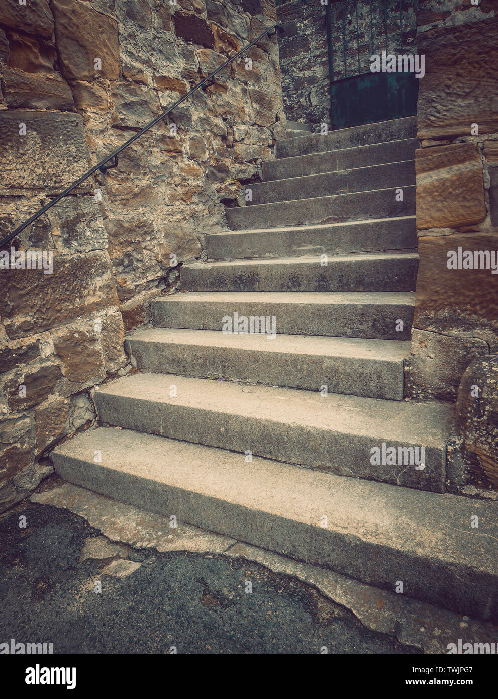 Old stone steps leading to nowhere. - Stock Image