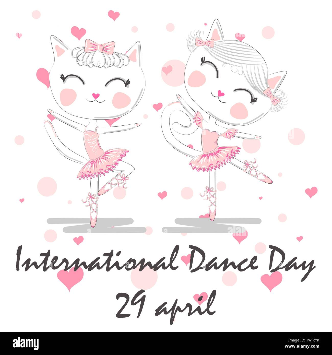 International Dance Day April 29 Design Template Or Greeting Card A Pair Of Cute White Ballerina Cats In Pink Ballet Tutu And Pointe Stock Vector Image Art Alamy