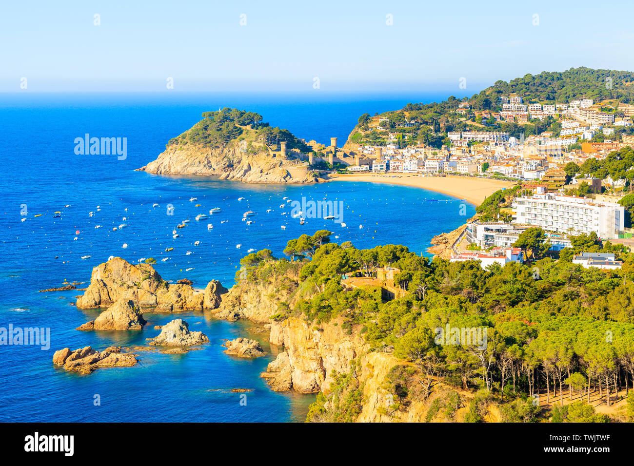 View of Tossa de Mar town and sea from high cliff, Costa Brava, Spain Stock Photo