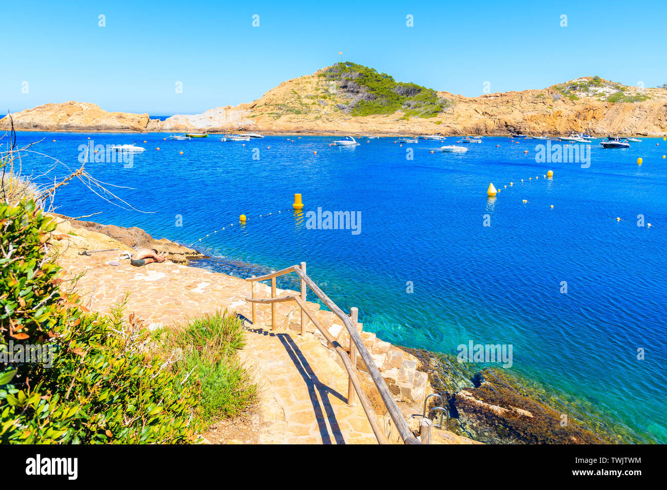 Coastal walkway to beach near Sa Tuna village, Costa Brava, Spain Stock Photo
