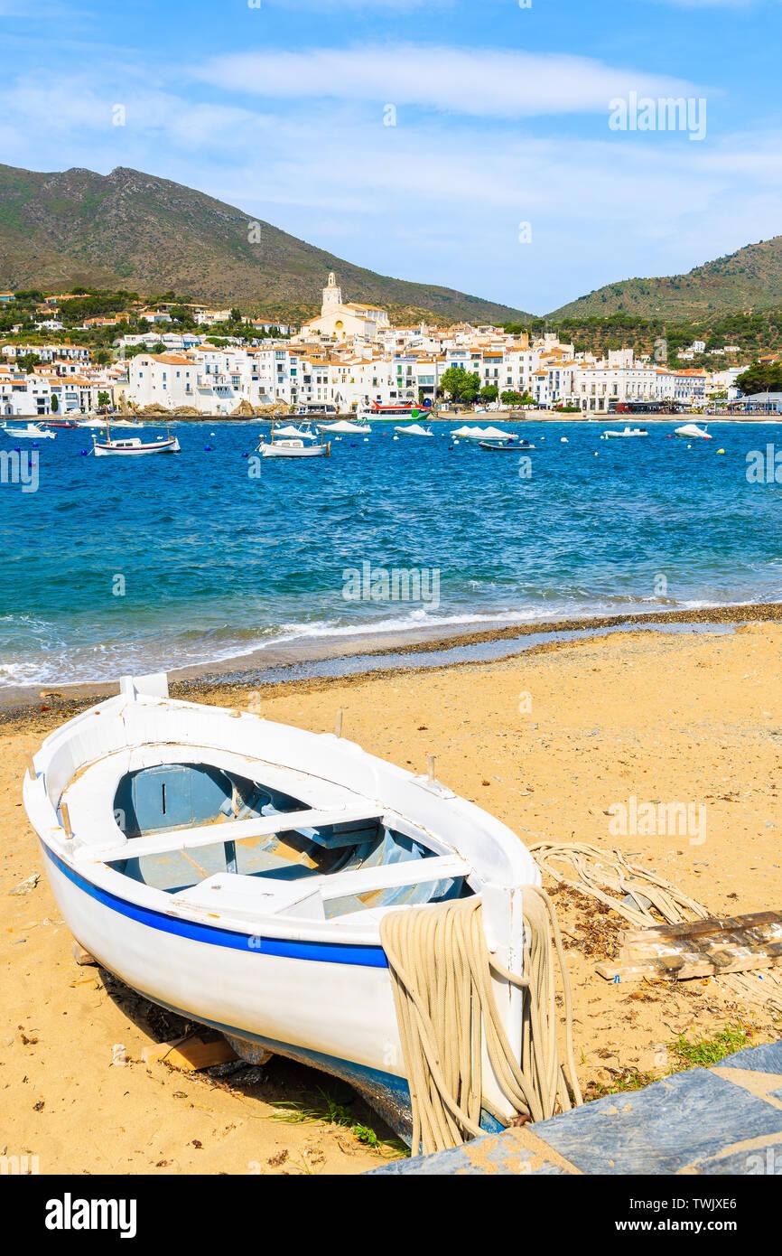 Fishing boat on beach in Cadaques white village, Costa Brava, Spain Stock Photo