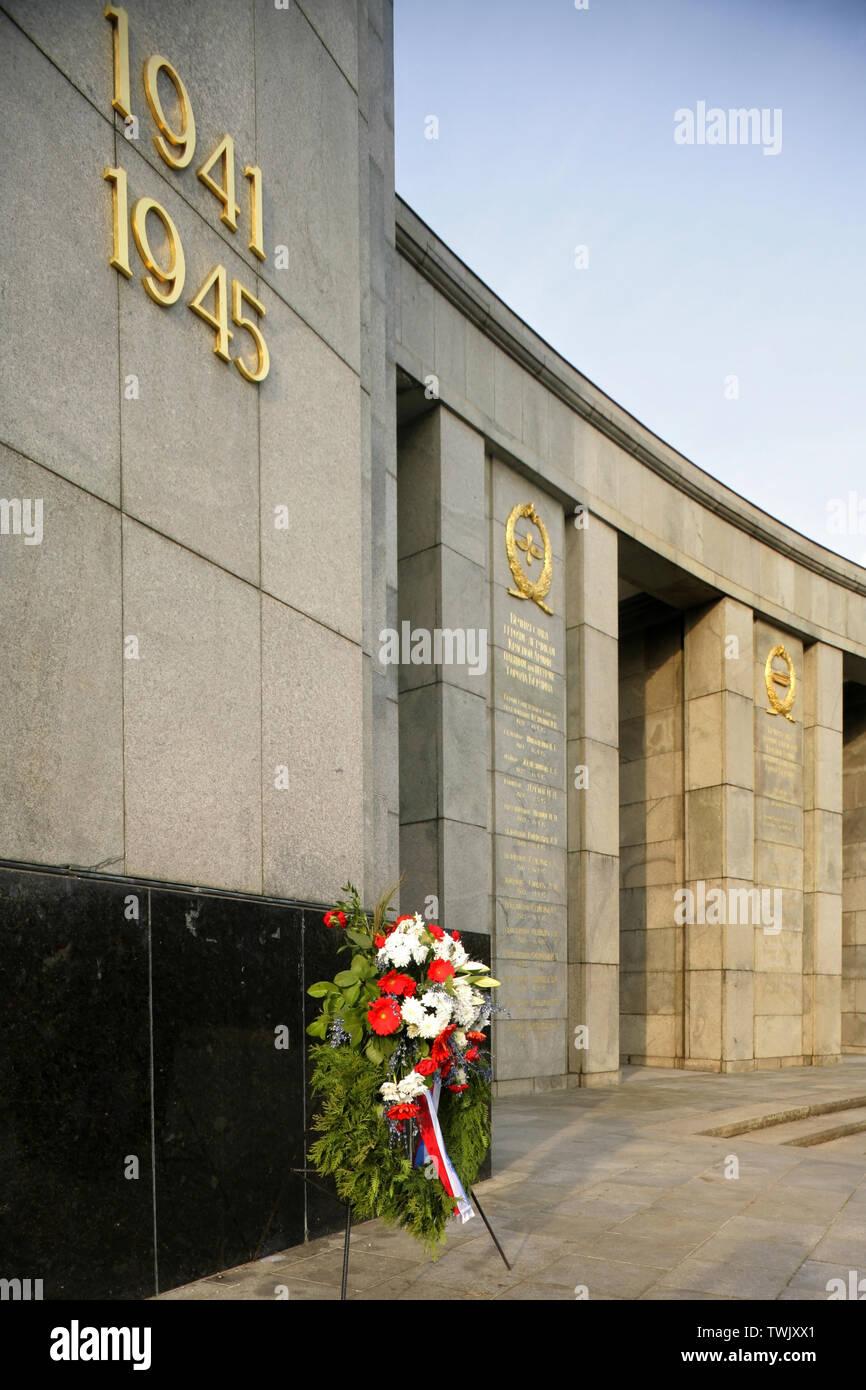 The Soviet War Memorial, Tiergarten Berlin, Germany which commemorates Soviet losses during the Battle of Berlin in World War 2. - Stock Image