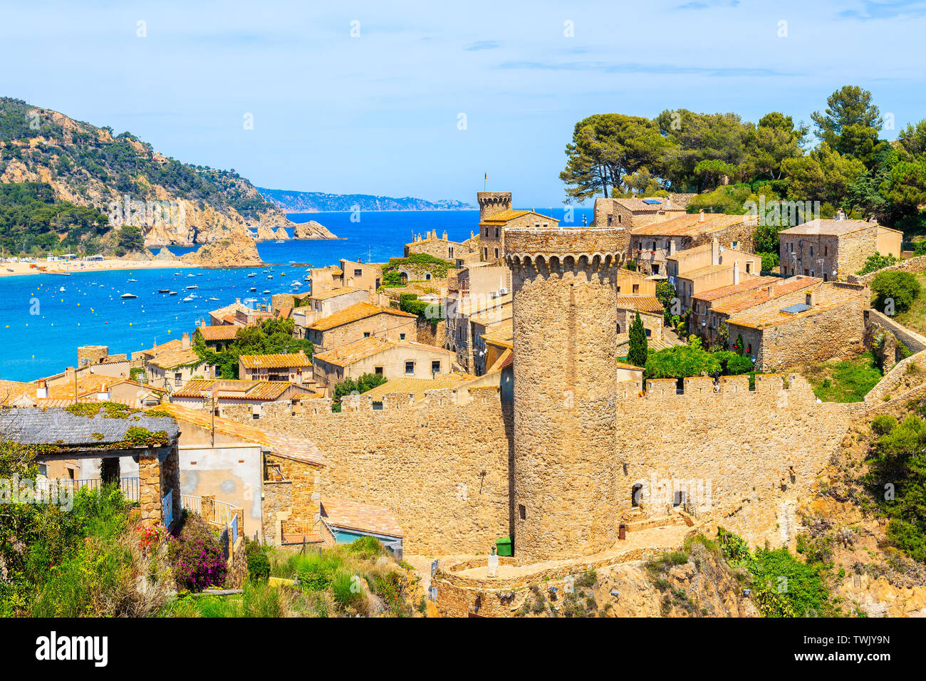Tossa de Mar and view of castle with old town, Costa Brava, Spain Stock Photo