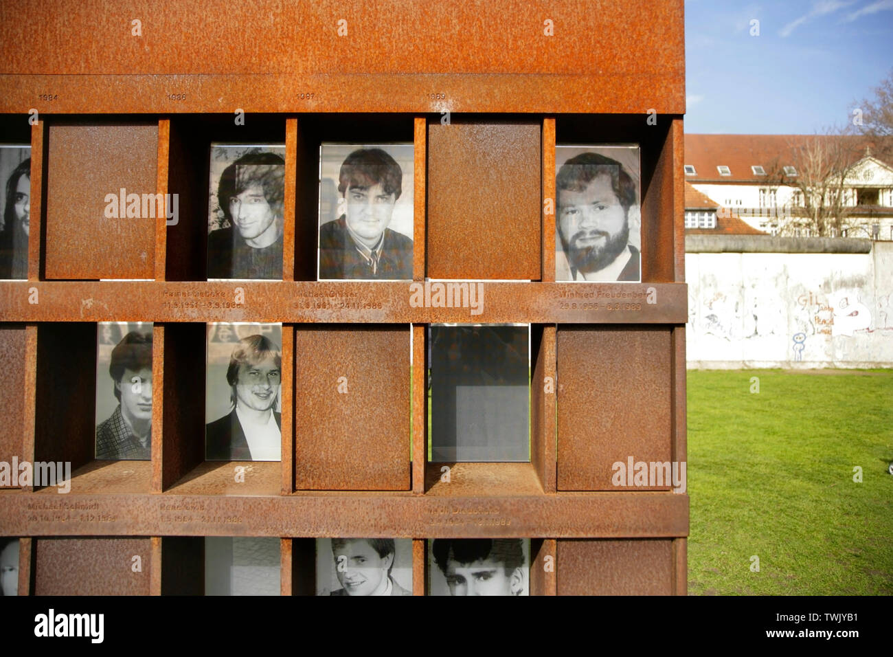 Photographs of people killed while attempting to cross the Berlin Wall, at the Berlin Wall Memorial, Bernauer Strasse, Berlin, Germany. Stock Photo