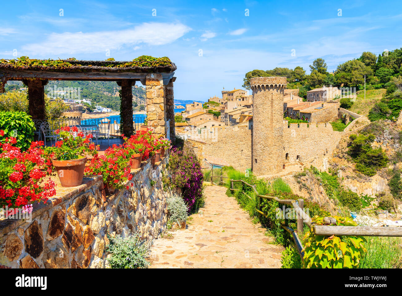 Flowers on coastal path in Tossa de Mar and view of castle with old town, Costa Brava, Spain Stock Photo
