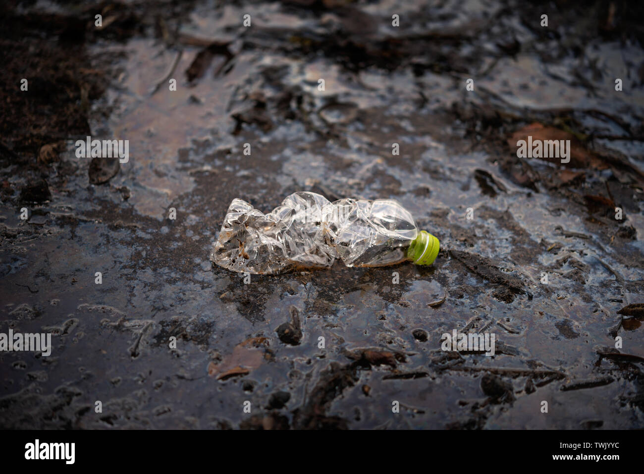 Plastic Scrap pollution in the water , environment protection concepts . Selective focus - Stock Image