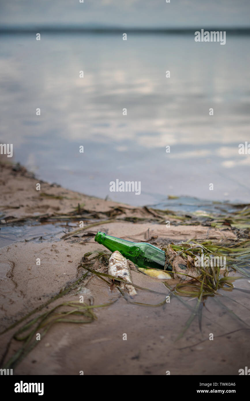 Bottle Scrap pollution in the water , environment protection concepts . Selective focus - Stock Image