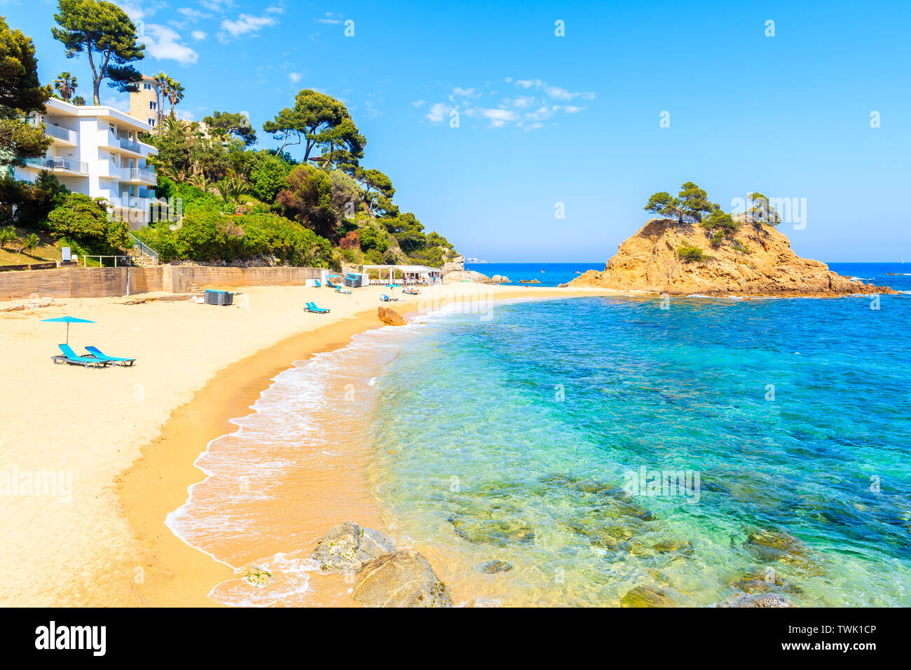 Stunning sandy beach at Cap Roig, Costa Brava, Spain Stock Photo
