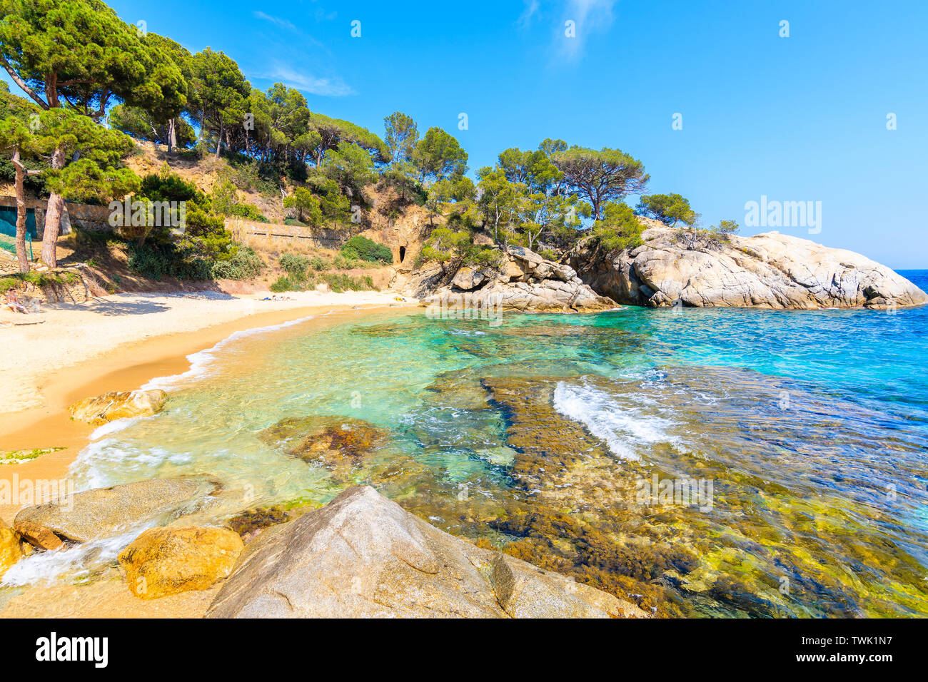 Idyllic sandy Cala Pi beach near Cap Roig, Costa Brava, Spain Stock Photo
