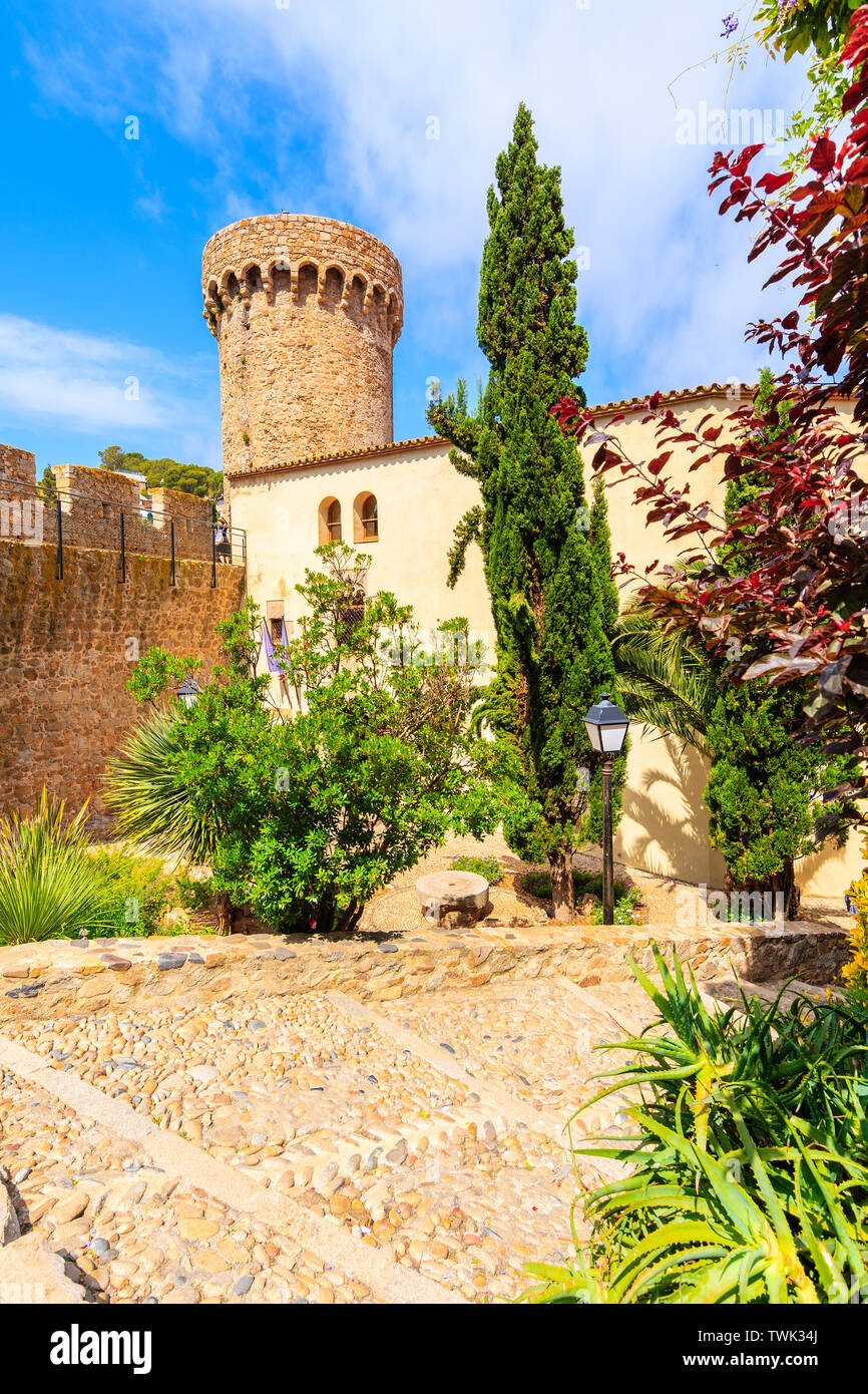 Castle tower and gardens in old town of Tossa de Mar, Costa Brava, Spain Stock Photo