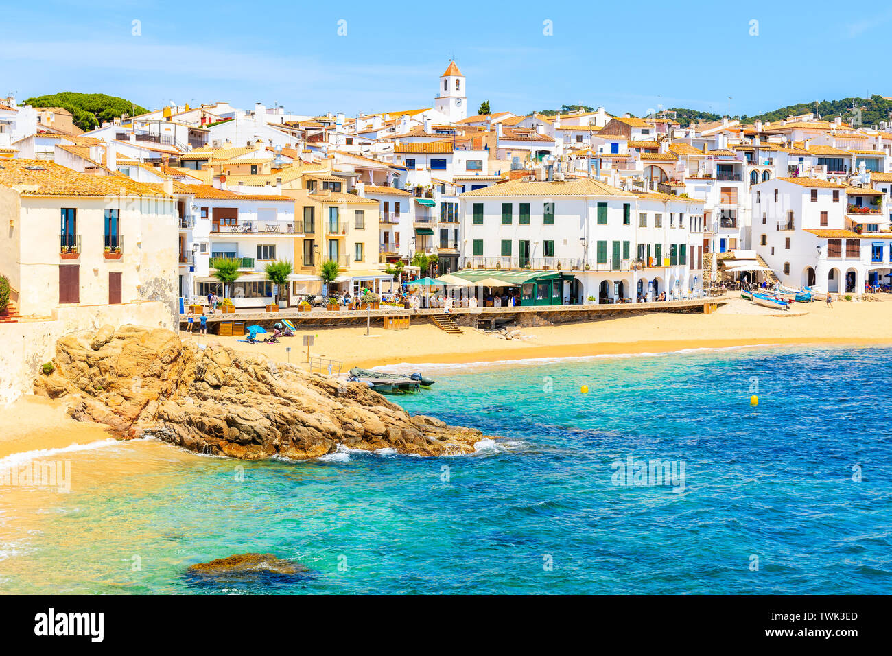 Amazing beach in Calella de Palafrugell, scenic fishing village with white houses and sandy beach with clear blue water, Costa Brava, Catalonia, Spain Stock Photo
