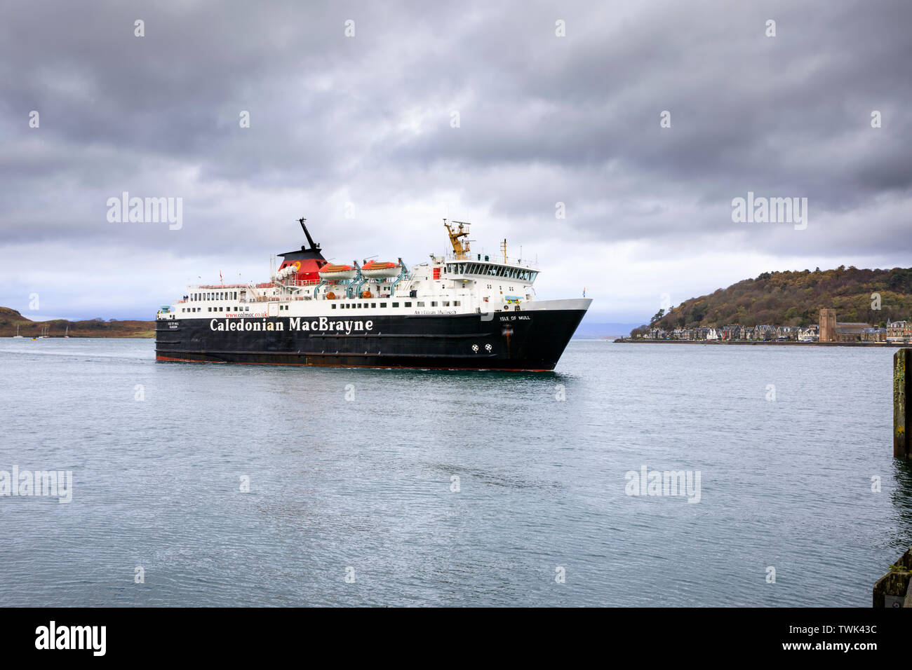 The Isle of Mull Ferry at Oban. - Stock Image