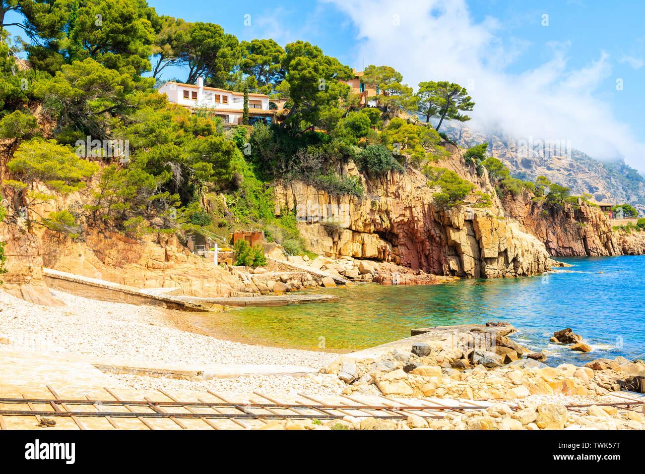 Beach view in picturesque bay near Fornells village, Costa Brava, Spain Stock Photo