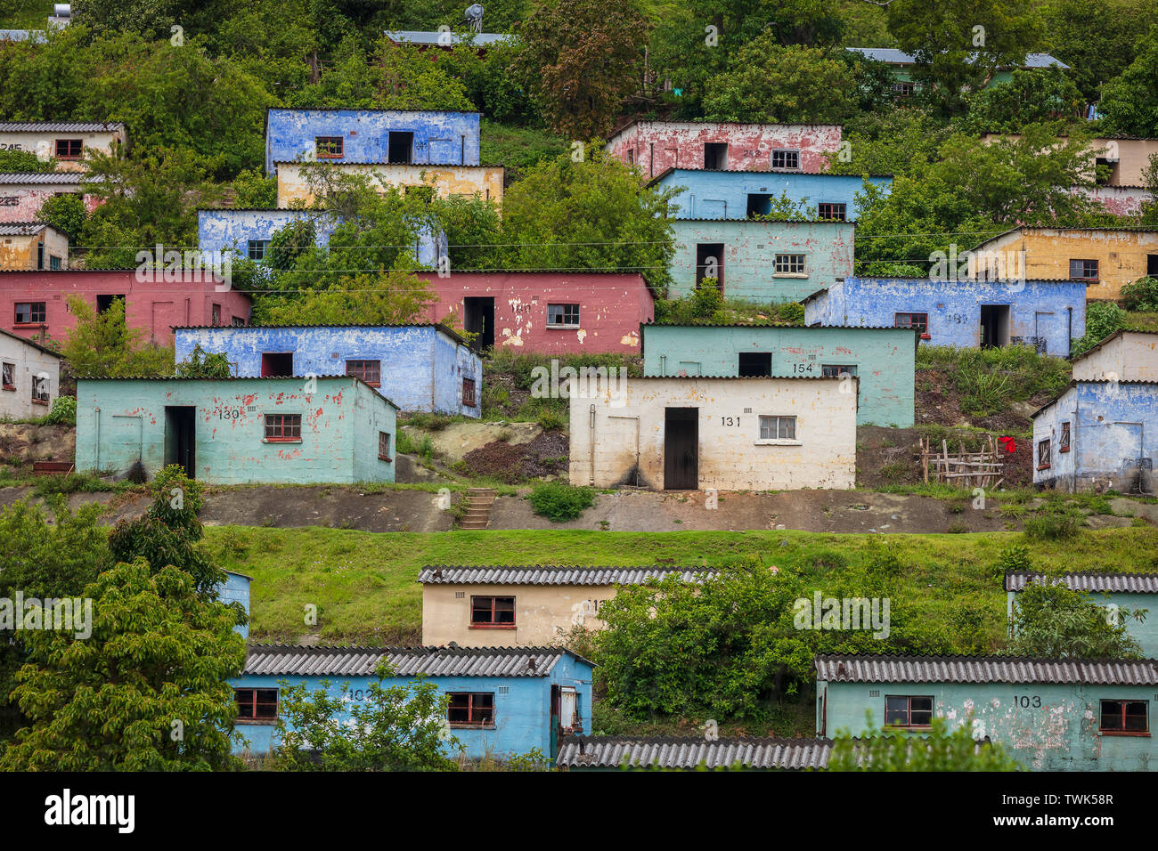 Colourful houses in Bulembu in Swaziland - Stock Image