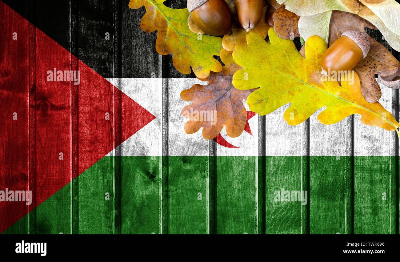 Western Sahara flag on autumn wooden background with leaves and good place for your text. - Stock Image