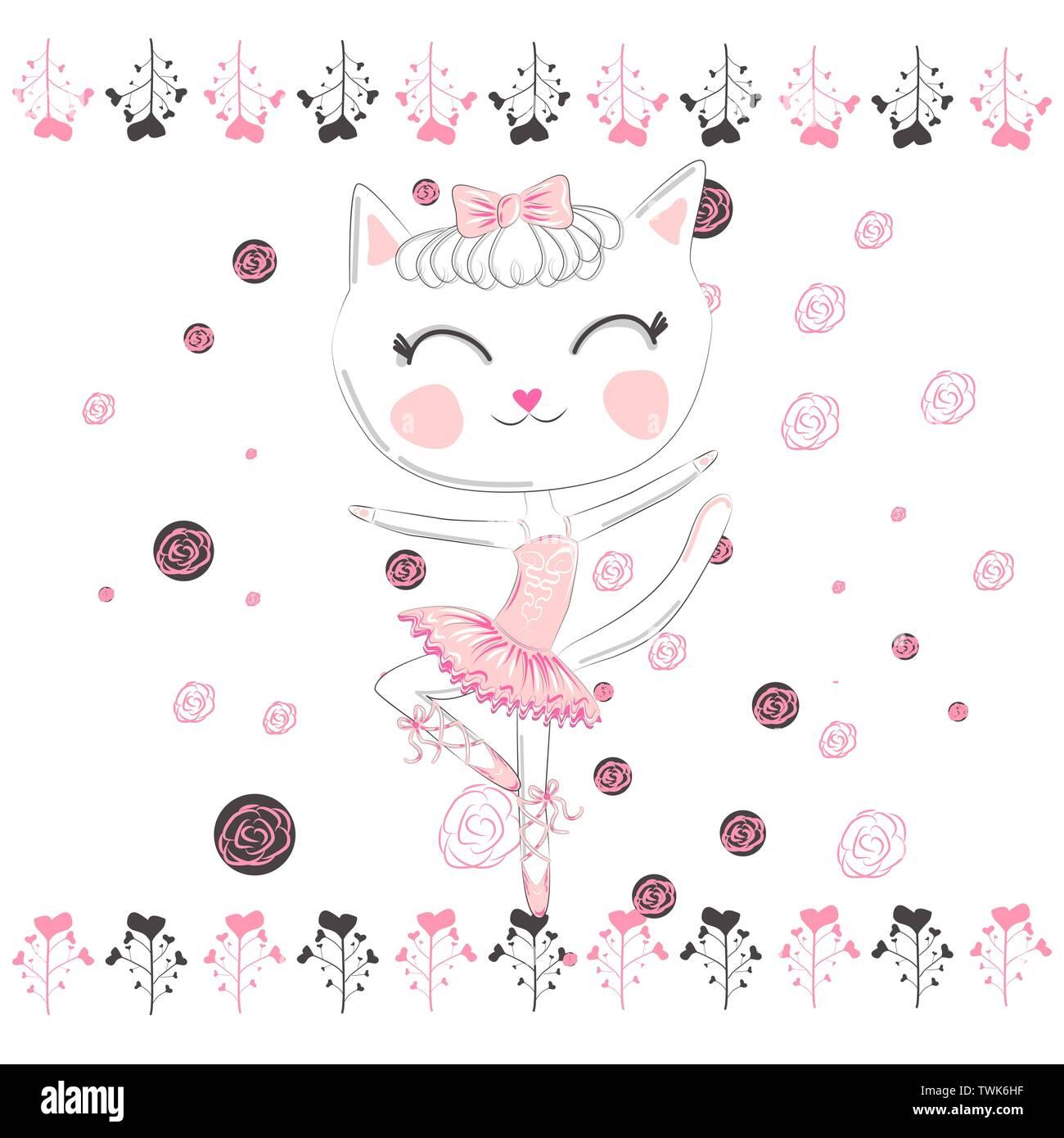 Hand Drawn Beautiful Cute Little Blonde Pretty Cat Stock Vector Image Art Alamy